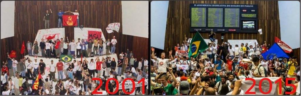 Ocupações da Assembléia Legislativa do Estado do Paraná (ALEP) em 2001 (contra a venda da Copel e a cobrança de mensalidades em universidades estaduais) e em 2015 (contra o desvio de dinheiro do Fundo Previdenciário da Paraná Previdência). Muitos dos estudantes que protestavam comigo, em 2001, em 2015 são professores estaduais. (Montagem: Blog do Raoni.)