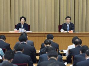 Sun Chunlan (esquerda), chefe do departamento de trabalho da Frente Unida, do Partido Comunista Chinês, discursa em reunião da Frente Unida em Pequim. (Foto: Xinhua/Wang Ye)