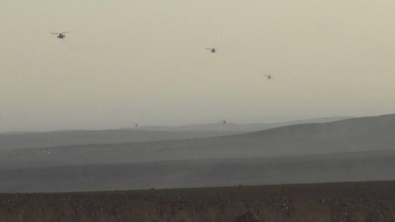 Helicópteros do governo sírio fotografados pelo Estado Islâmico na província de Homs. (Foto: isis.liveuamap.com)