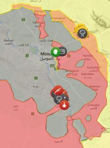 Forças iraquianas (território em vermelho) avançam sobre Mossul com apoio dos curdos (em amarelo), xiitas e forças internacionais. (Fonte: isis.liveuamap.com)